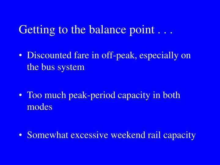 Getting to the balance point . . .