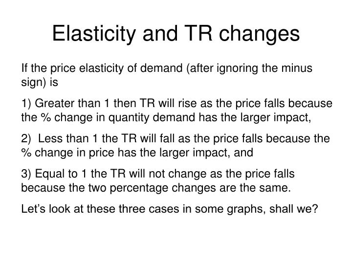 Elasticity and TR changes