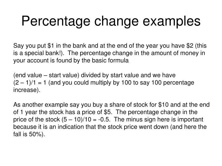 Percentage change examples