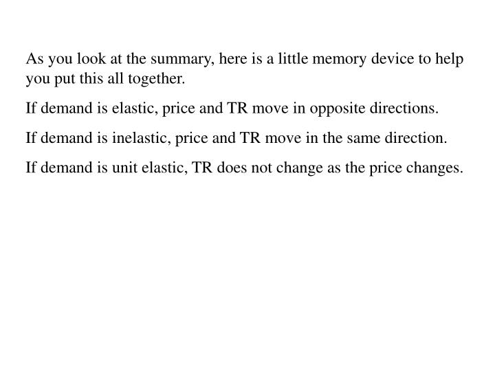 As you look at the summary, here is a little memory device to help you put this all together.