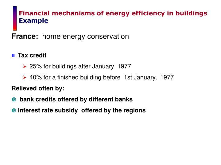 Financial mechanisms of energy efficiency in buildings