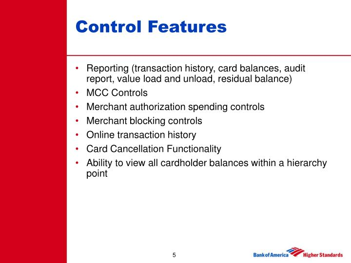Control Features