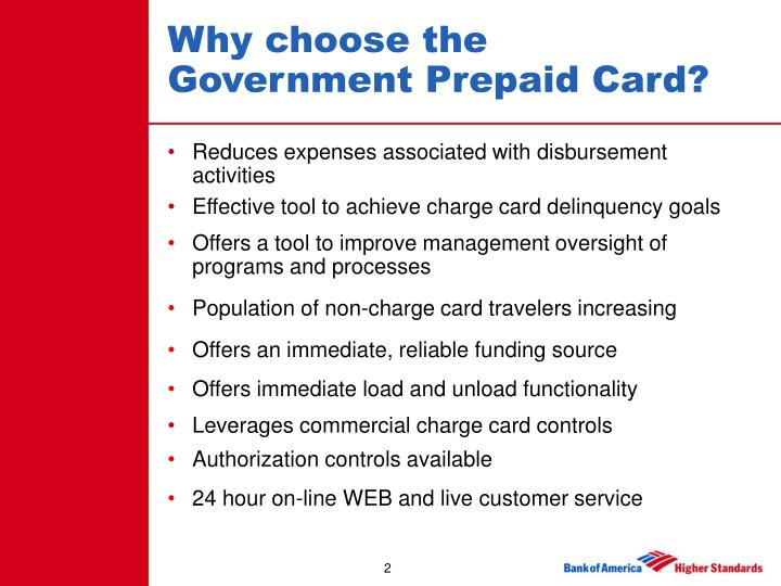 Why choose the government prepaid card