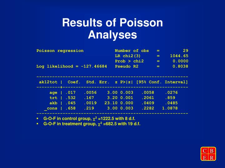 Results of Poisson Analyses