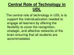 central role of technology in udl