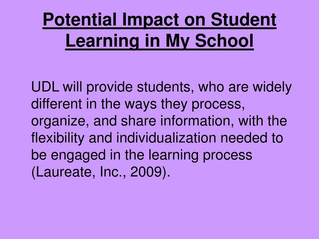 Potential Impact on Student Learning in My School