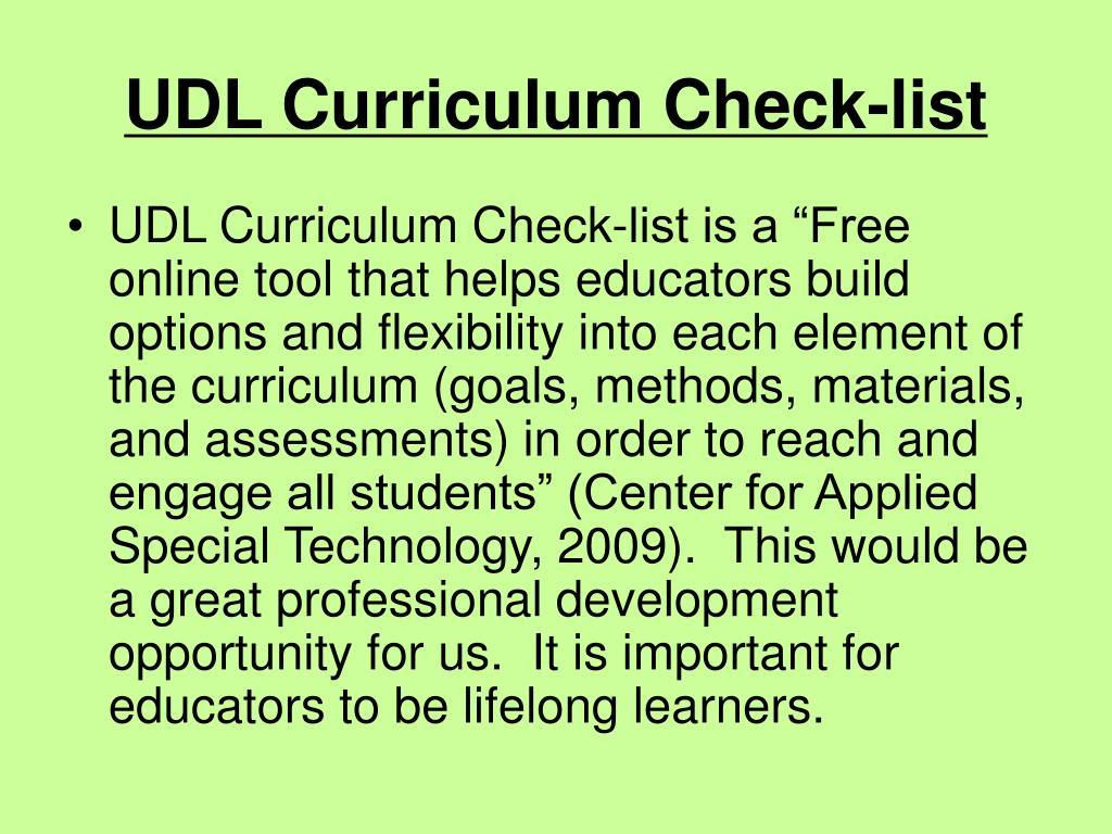 UDL Curriculum Check-list