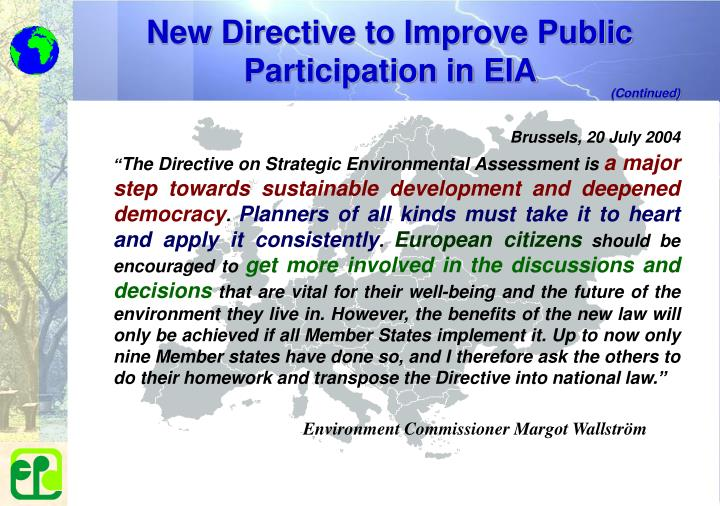 New Directive to Improve Public Participation in EIA