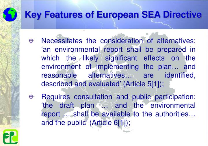 Key Features of European SEA Directive