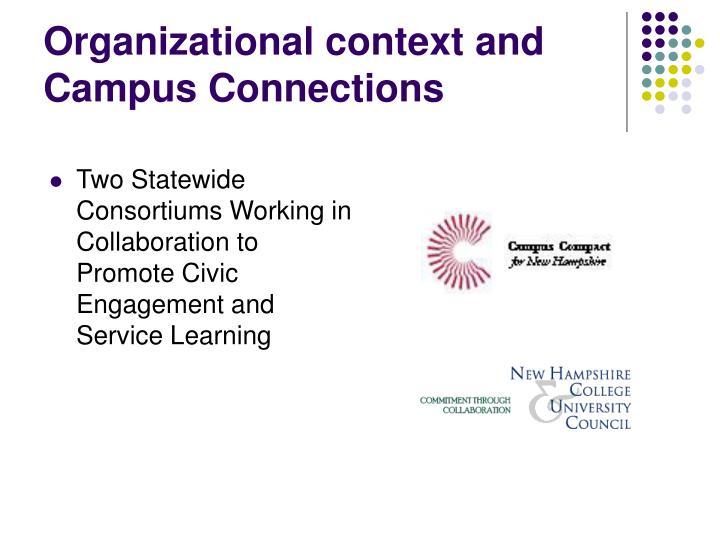 Organizational context and campus connections