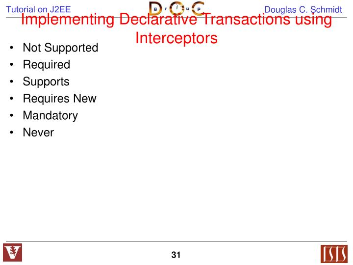 Implementing Declarative Transactions using Interceptors