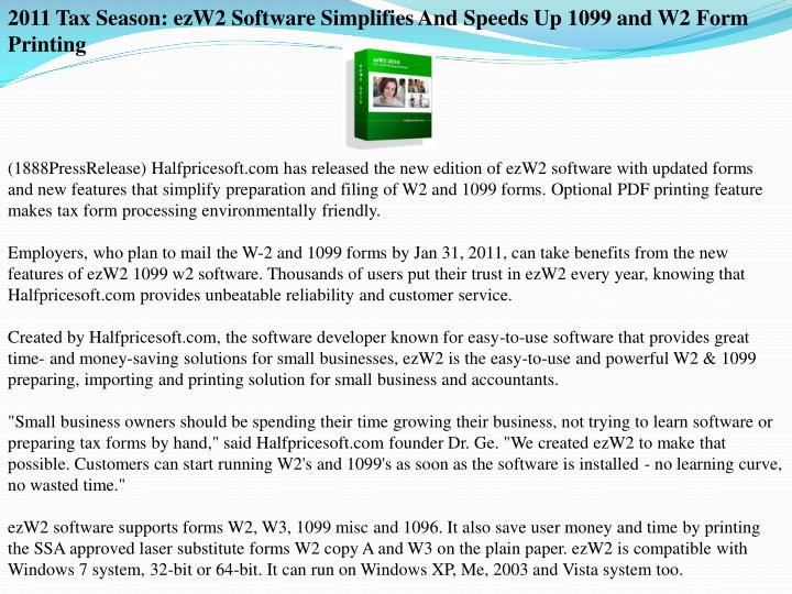2011 Tax Season: ezW2 Software Simplifies And Speeds Up 1099 and W2 Form Printing