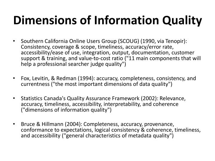 Dimensions of Information Quality