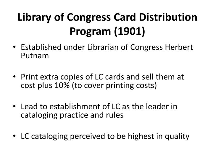 Library of Congress Card Distribution Program (1901)