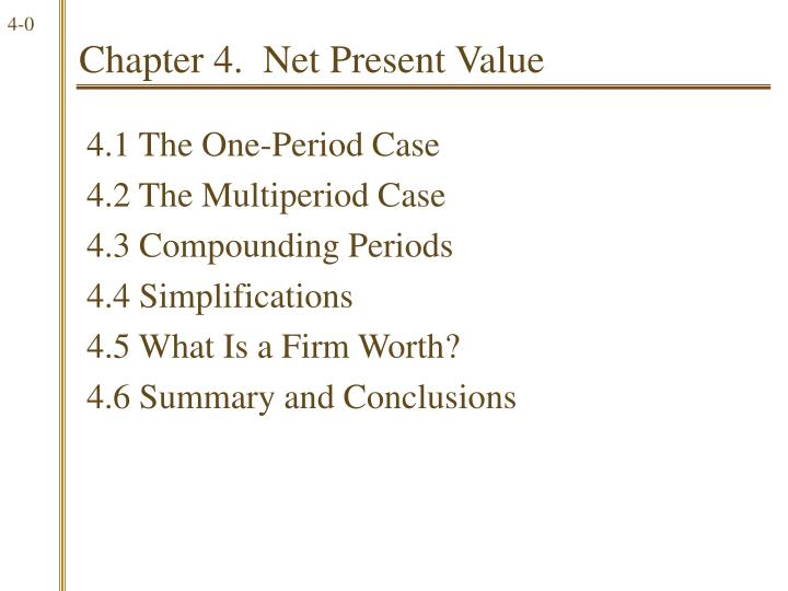 Chapter 4 net present value