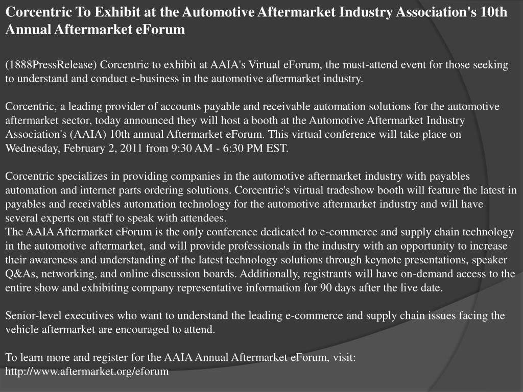 Corcentric To Exhibit at the Automotive Aftermarket Industry Association's 10th Annual Aftermarket eForum
