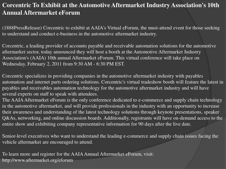 Corcentric To Exhibit at the Automotive Aftermarket Industry Association's 10th Annual Aftermarket e...