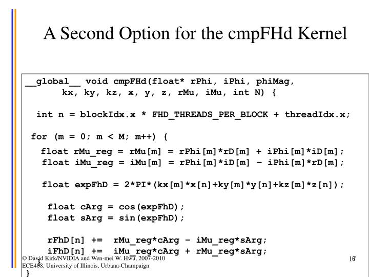 A Second Option for the cmpFHd Kernel