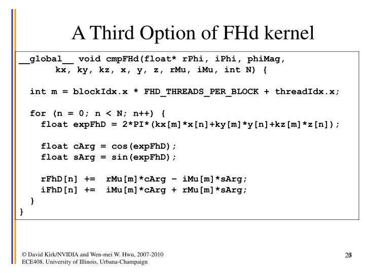 A Third Option of FHd kernel