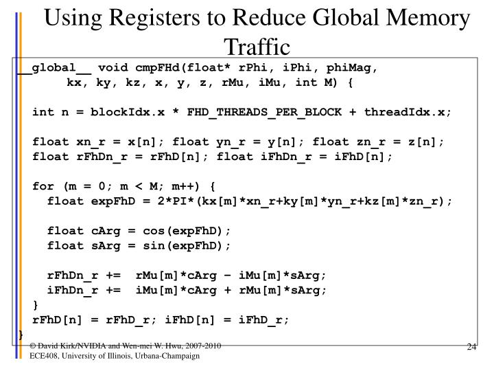 Using Registers to Reduce Global Memory Traffic