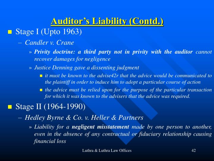 Auditor's Liability (Contd.)