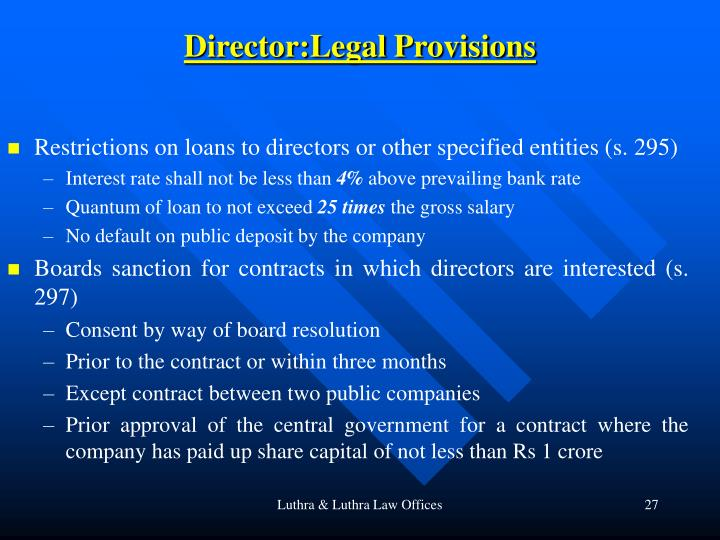 Director:Legal Provisions