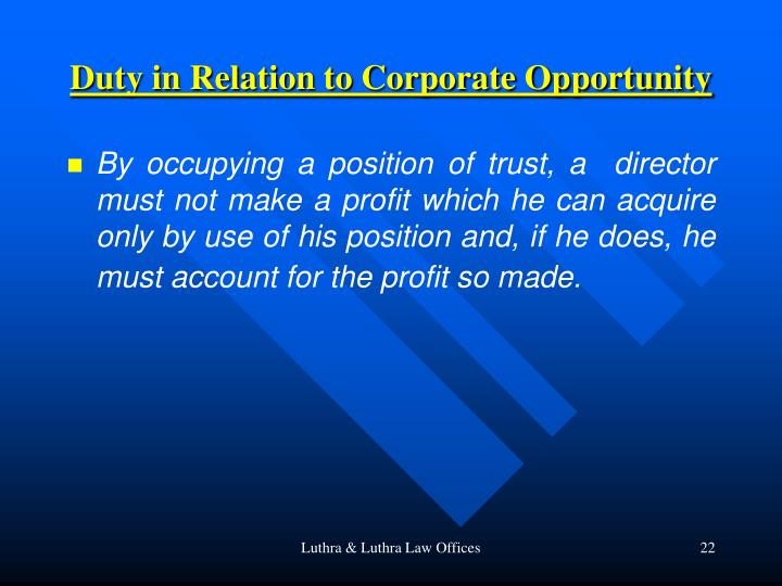 Duty in Relation to Corporate Opportunity