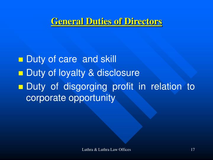 General Duties of Directors