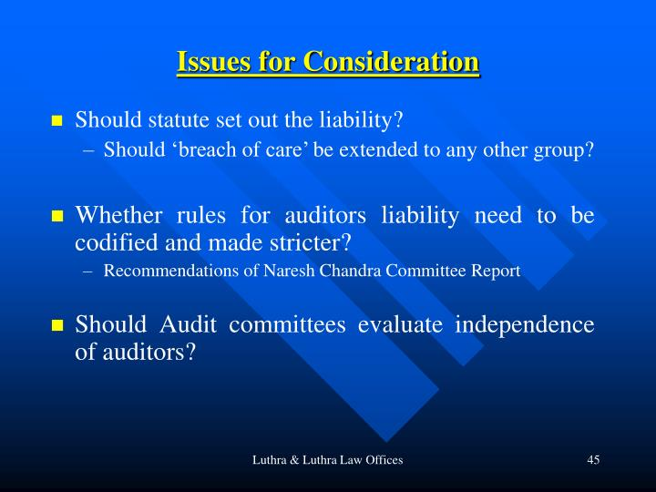 Issues for Consideration