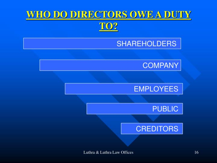 WHO DO DIRECTORS OWE A DUTY TO?