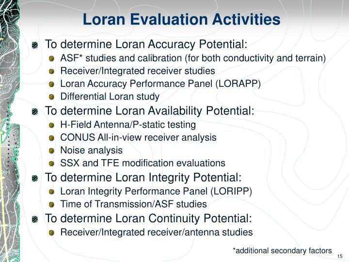 Loran Evaluation Activities