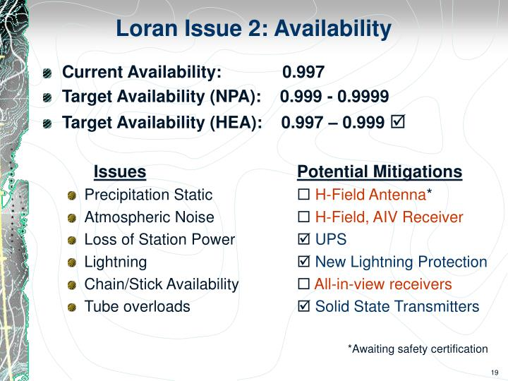 Loran Issue 2: Availability