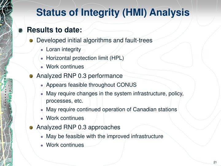 Status of Integrity (HMI) Analysis