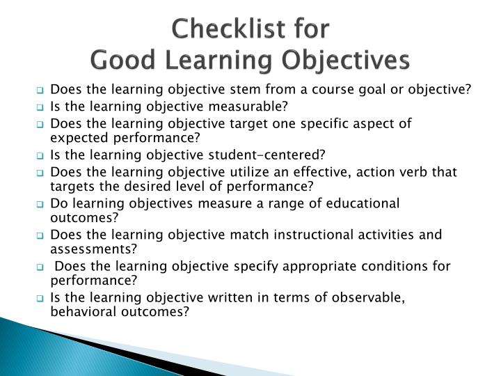 Learning Objectives Samples