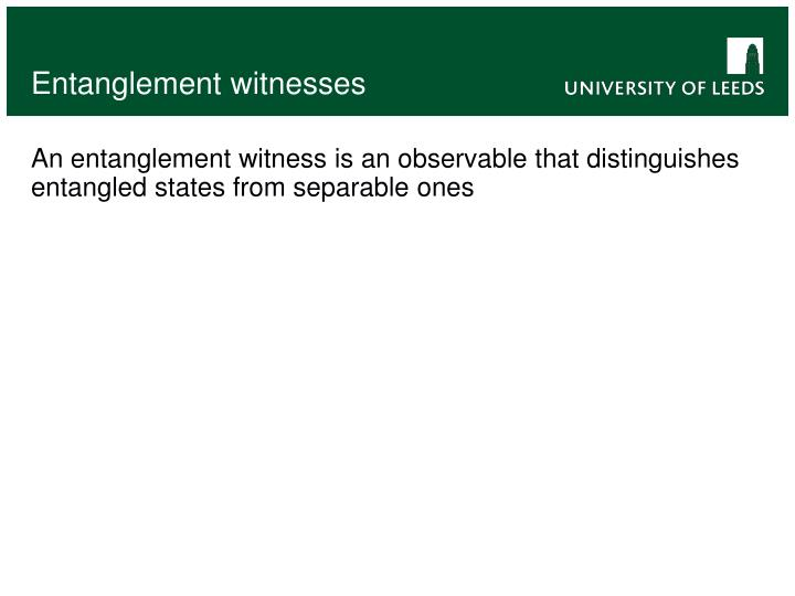 Entanglement witnesses