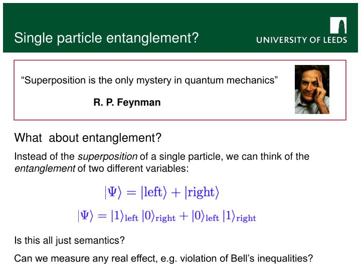 Single particle entanglement?