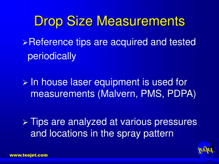 Drop size measurements