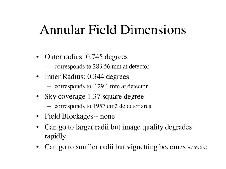 Annular Field Dimensions