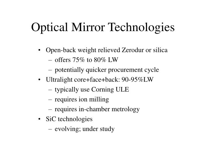 Optical Mirror Technologies