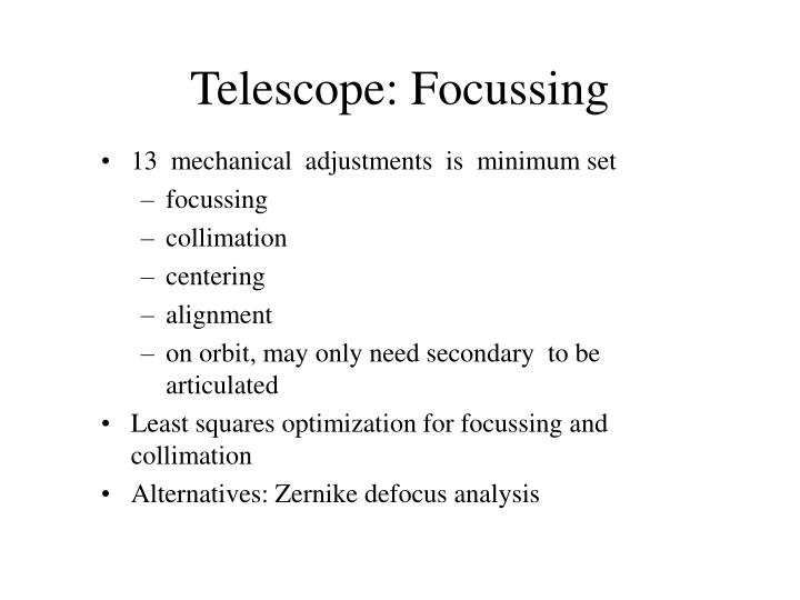 Telescope: Focussing
