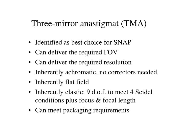 Three-mirror anastigmat (TMA)
