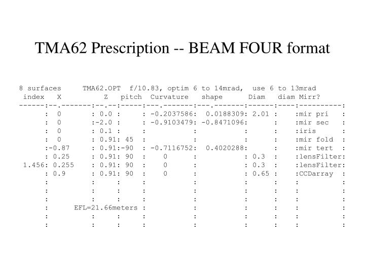 TMA62 Prescription -- BEAM FOUR format