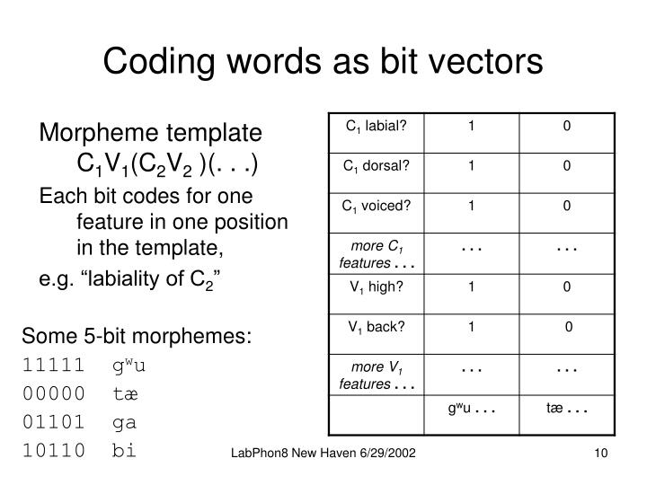Coding words as bit vectors