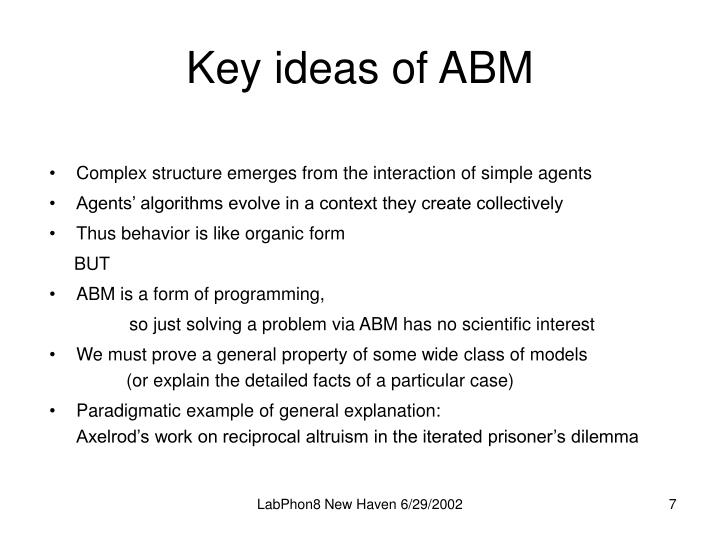 Key ideas of ABM