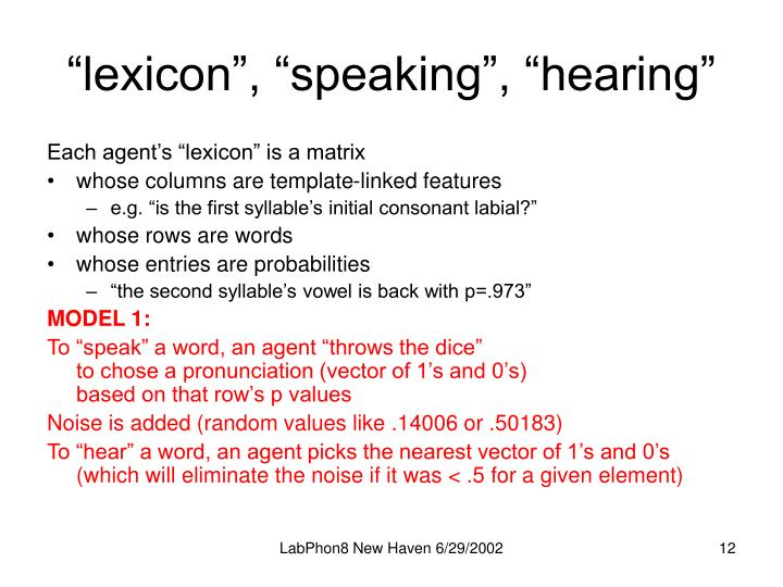 """lexicon"", ""speaking"", ""hearing"""