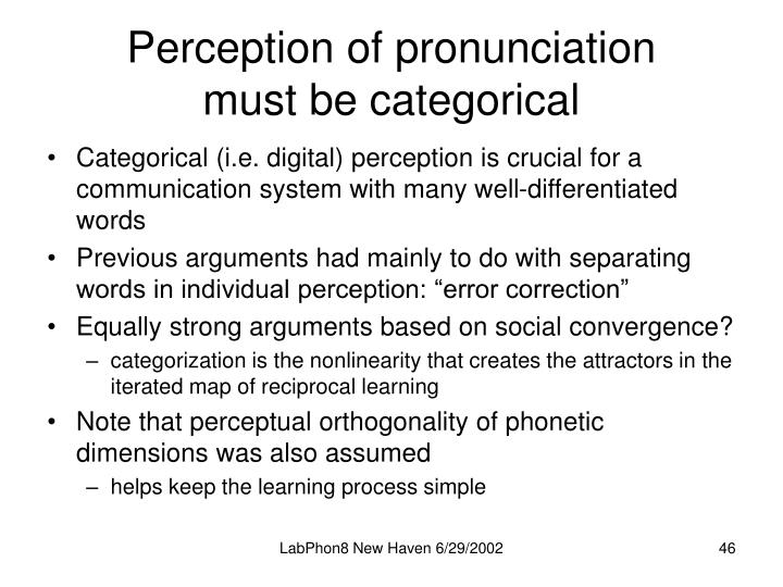 Perception of pronunciation