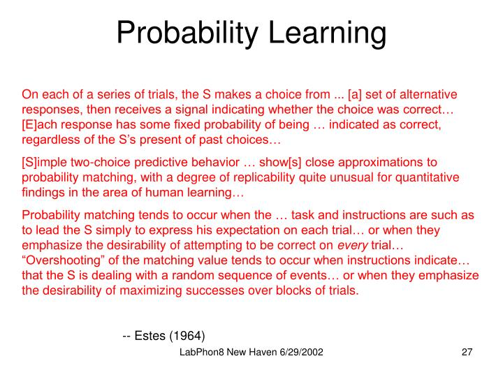Probability Learning