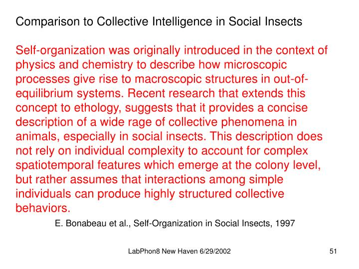 Comparison to Collective Intelligence in Social Insects