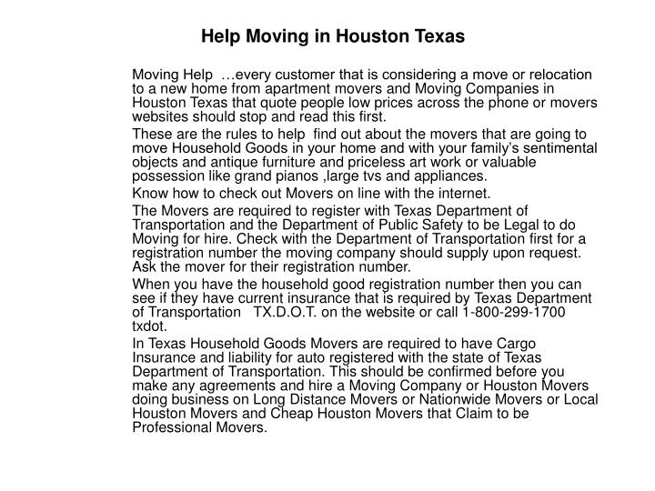 Help moving in houston texas
