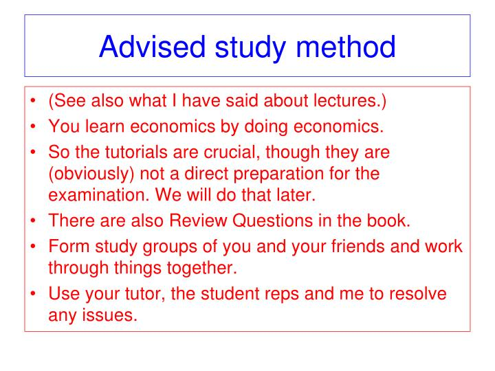 Advised study method